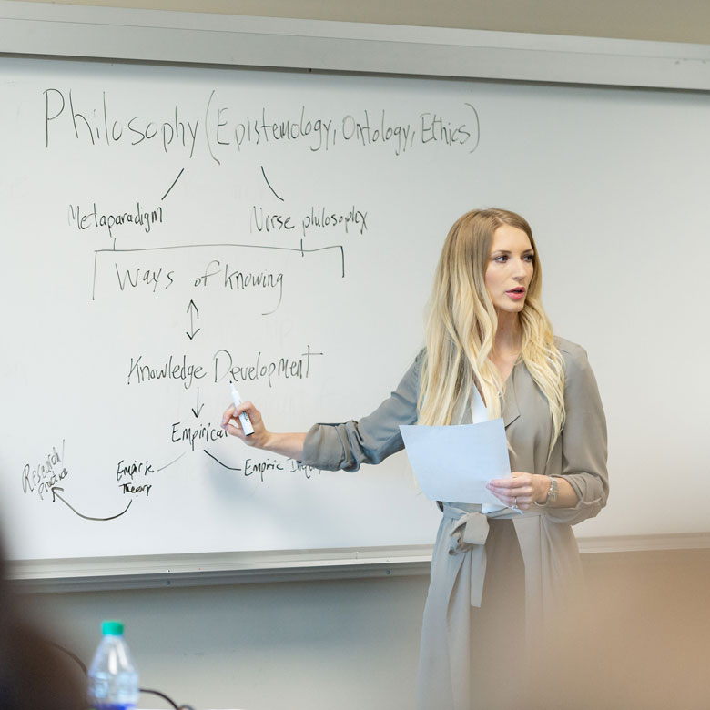 An instructor writing on a white board in a classroom